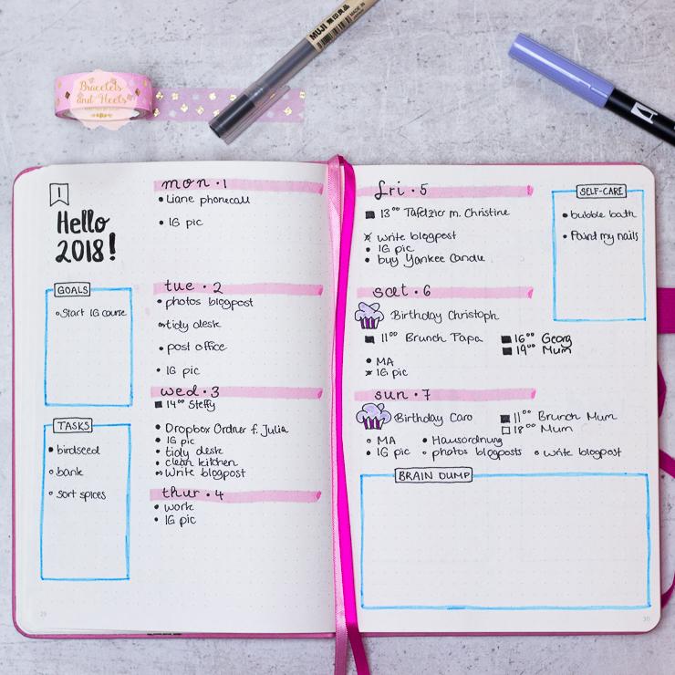 Bujo-weekly-spread-Scribbles-that-matter-Bullet-Journal-Setup-2018-Januar-January-inspiration-weekly-spread-bujo